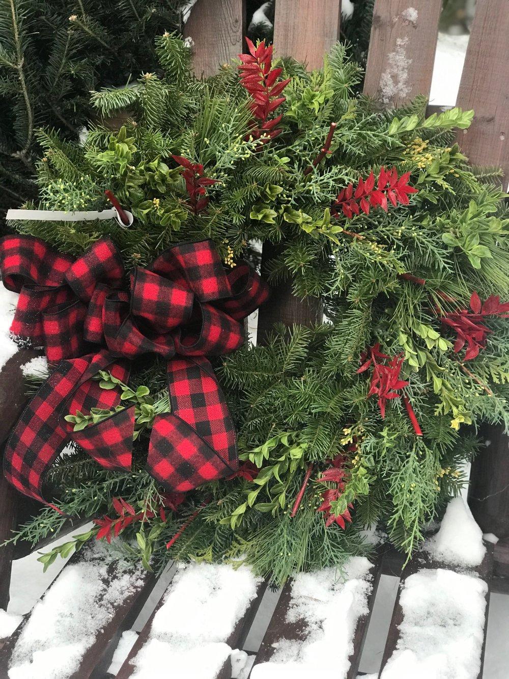 Handmade mixed pine wreaths.