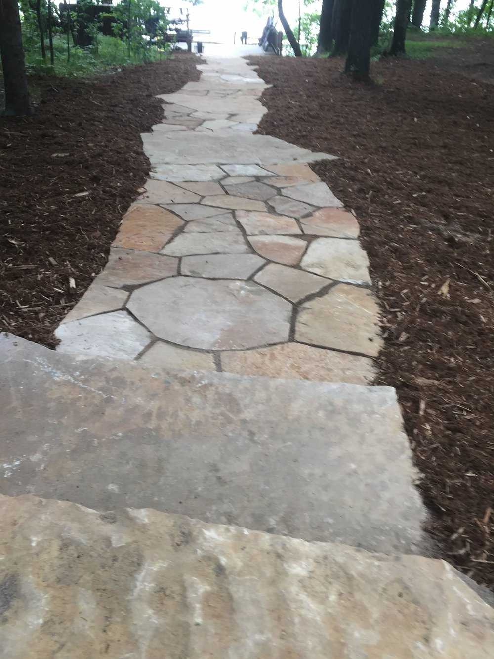 flagstone walkway to the lake
