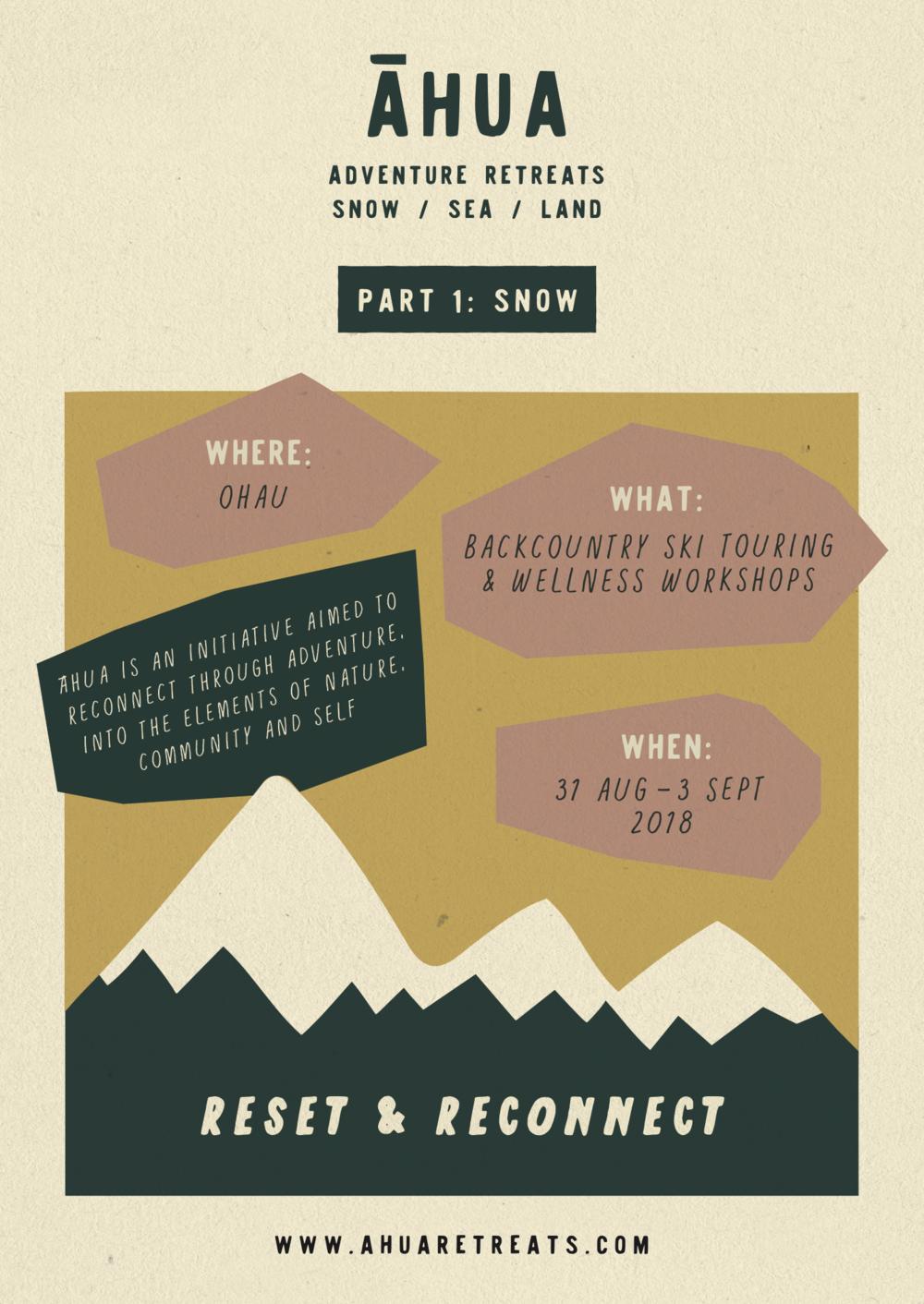 Poster design for Ahua Retreats, Wanaka, NZ