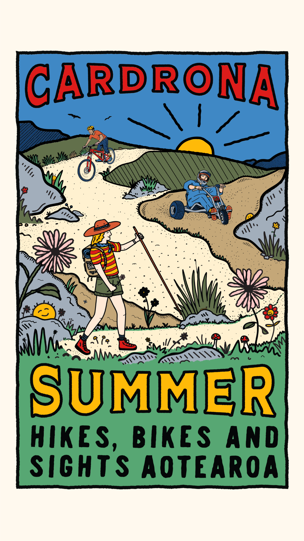 'Hikes, Bikes & Sights' postcard & poster design for Cardrona Alpine Resort, NZ
