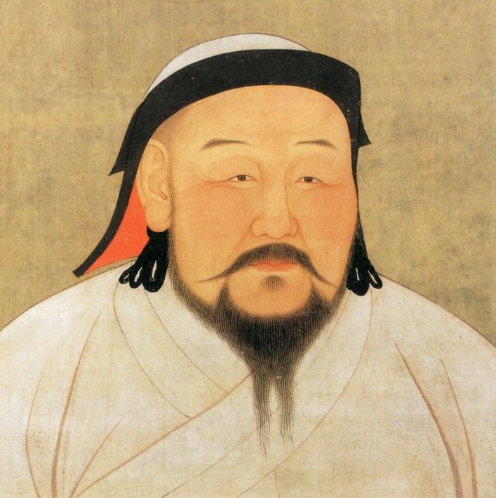 Kublai Khan (元世祖忽必烈, 1215 – 1294),  founder of the Yuan dynasty,  was the grandson of Genghis Khan.  [Public Domain]