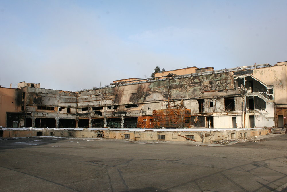 """The """"new"""" Olympia brewery is in disrepair. Plans to restore and lease out parts of the facility continue to go nowhere. The damage you see here is from a recent fire in the building that once held the company's main offices."""