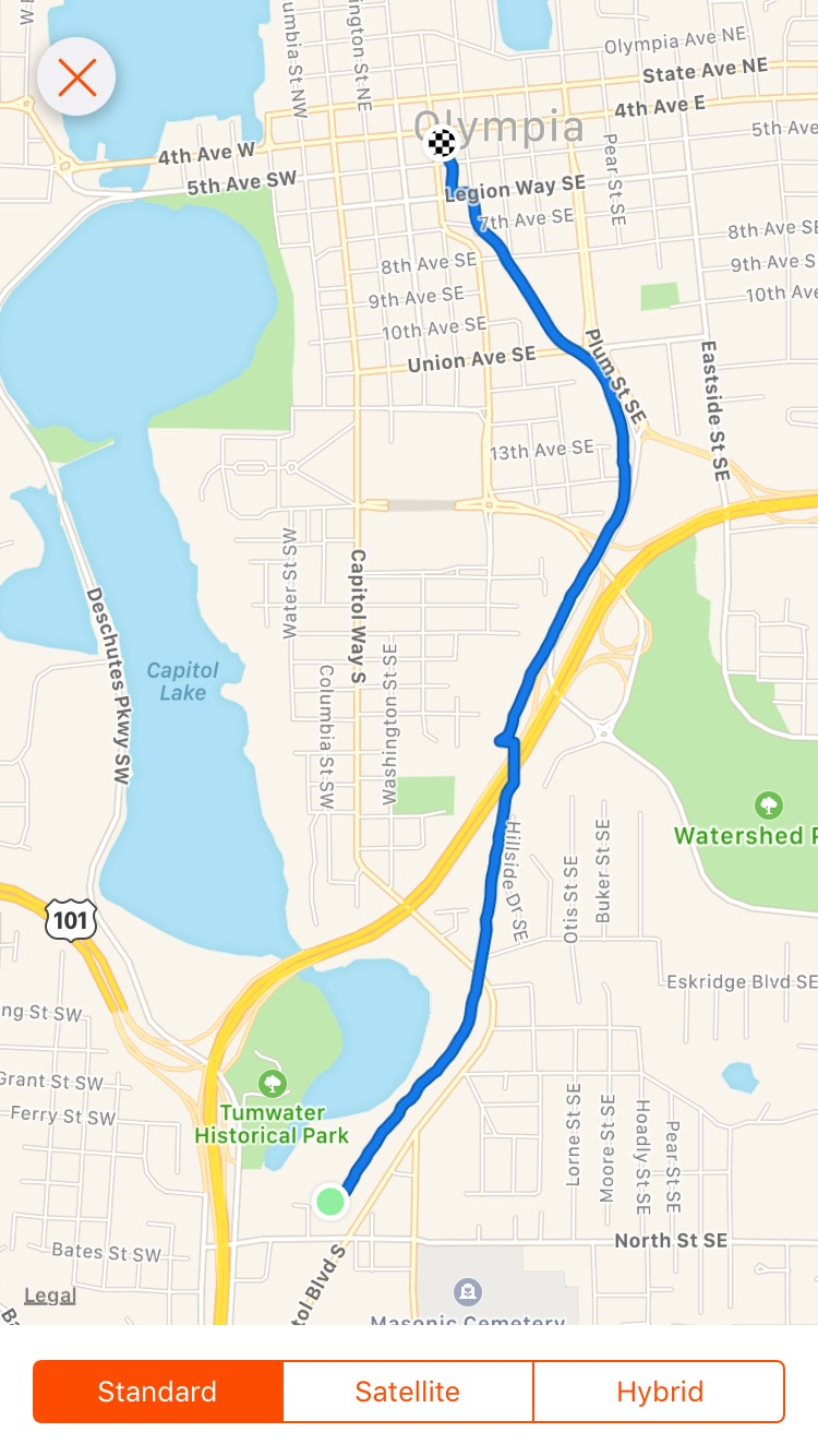 I used my running app to chart the course of the runaway's path. The jig at the freeway was just due to a lost signal. The old spur line tracks to the depot (which is now Pet Works) are long gone. They branched off around 7th Ave. from the tracks that are still there today. The old tracks would have passed through what is now the Planned Parenthood building. My app charted an elevation drop of 124 feet over 2.2 miles, though I think you could shave 1/10th of a mile off due to the imprecise tracking. This is still an active track. It is not legal to walk it. If you decide to walk the route anyway, watch out for trains.