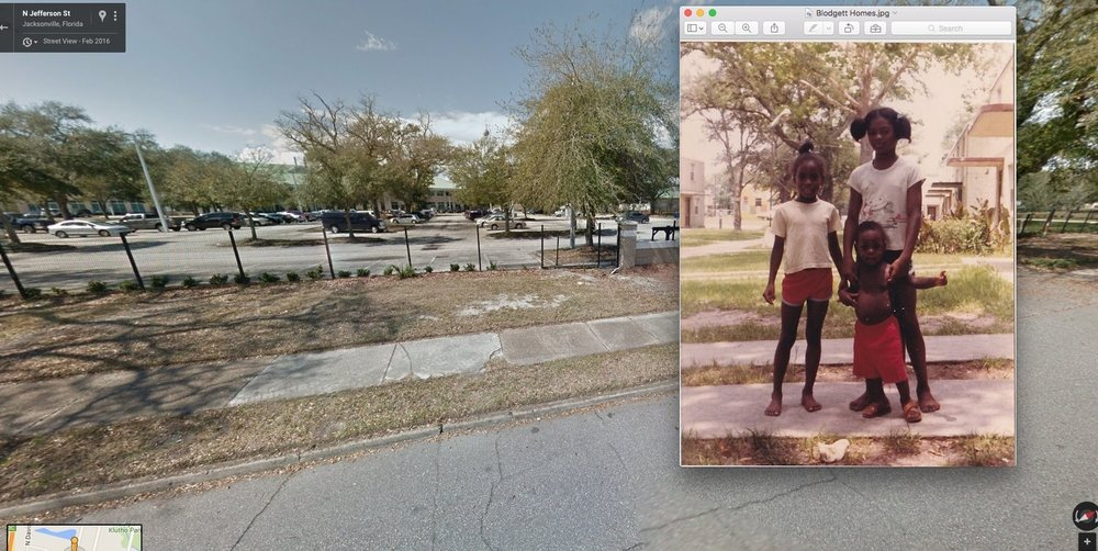 Google Maps 2016 and family friends in the Blodgett Homes in Jacksonville, Florida. From the personal archive of Renata Cherlise