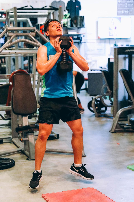 Goblet jump squat