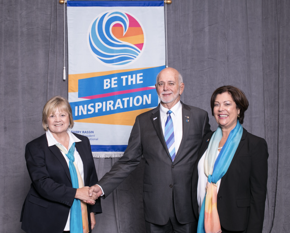 Left to right: District 9600 Governor Wendy Protheroe with Rotary International President Barry Rassin and wife Esther Rassin.