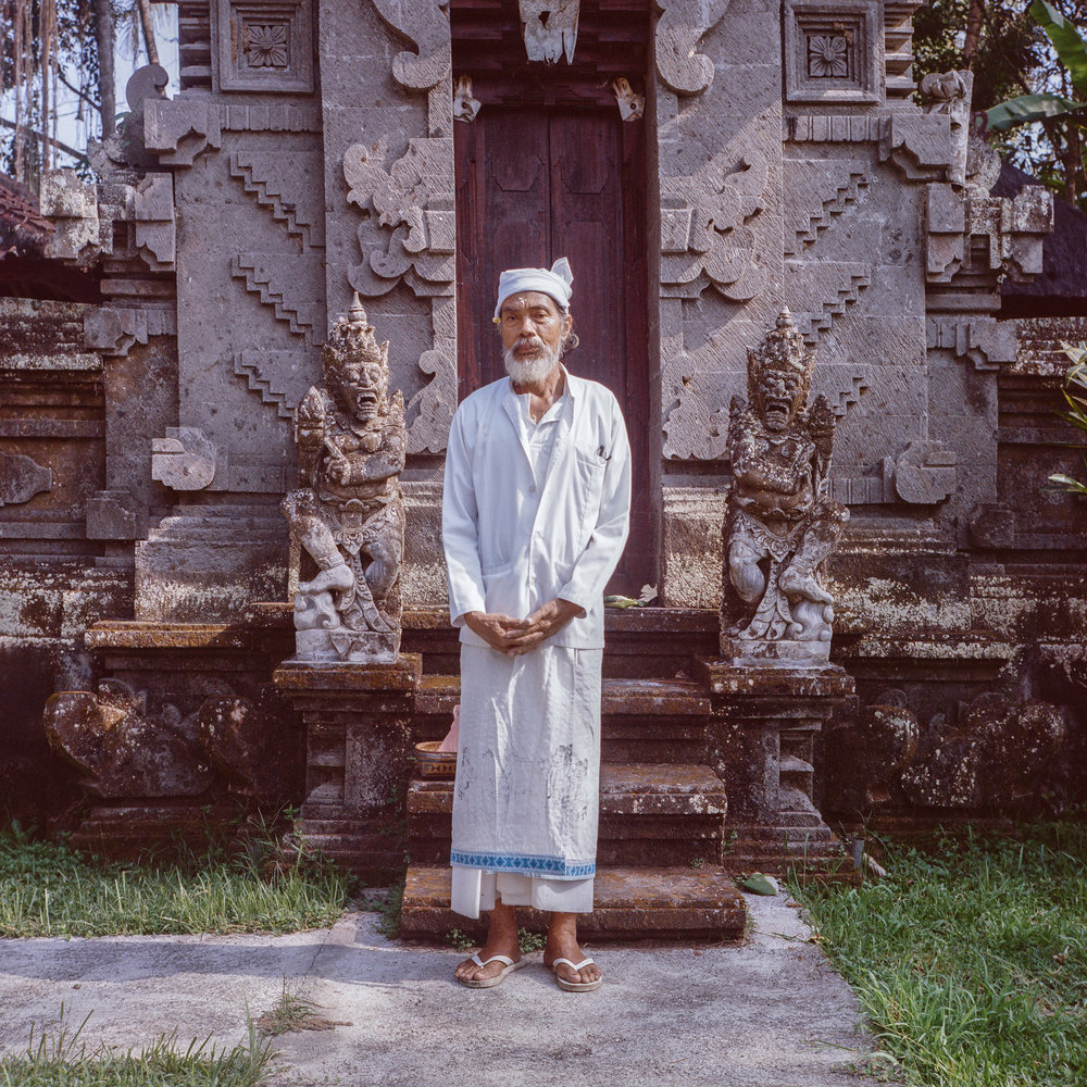 Pekak Kadek, a priest at Belong temple at Tunjuk Village, Bali, Indonesia.