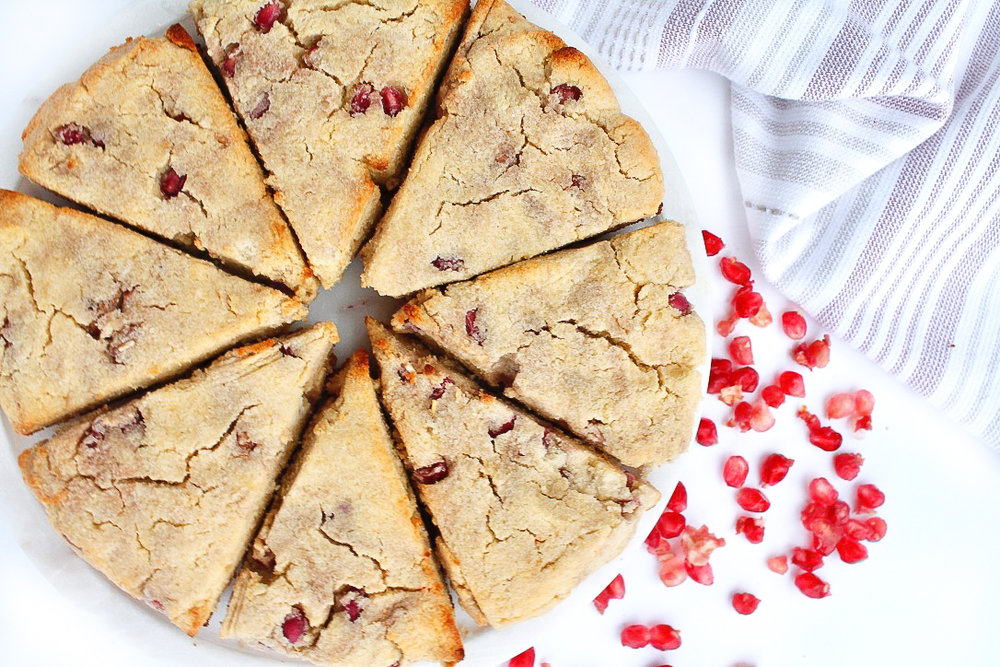 PALEO LEMON POMEGRANATE SCONES