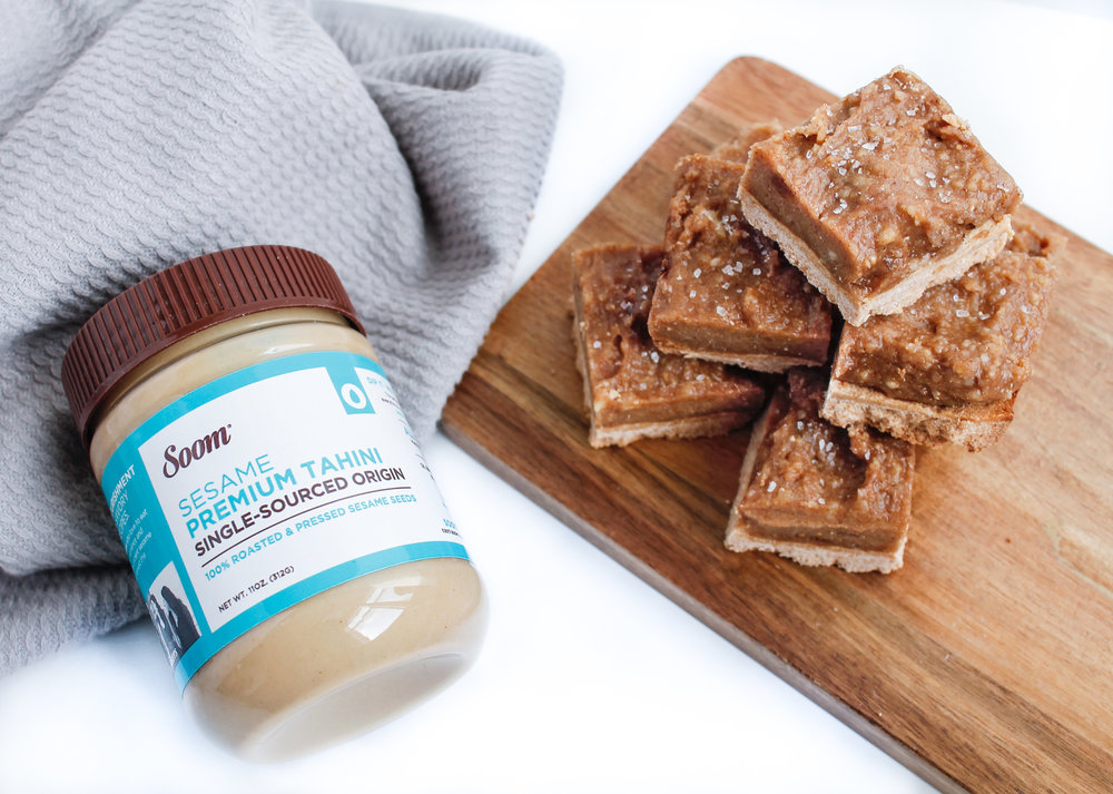 PALEO SALTED CARAMEL TAHINI COOKIE BARS
