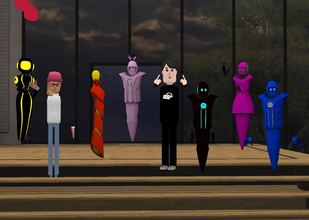 A picture of some of the founders, leaders, and volunteers of VR Church. Each avatar represents an actual person in VR.