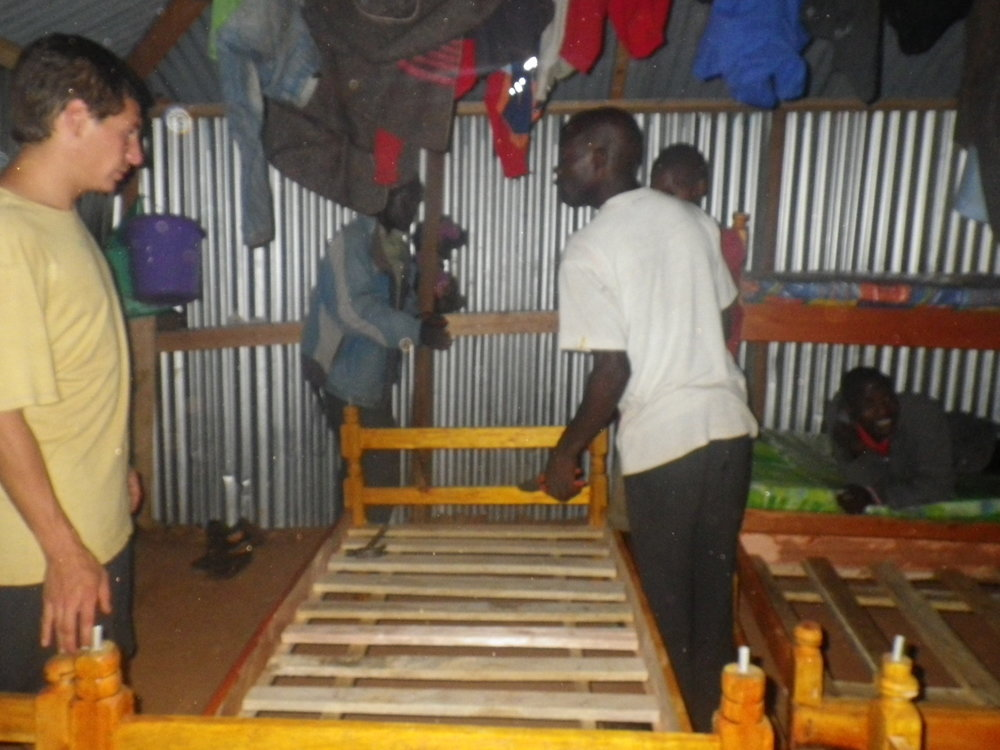 Assemblying bunk beds.