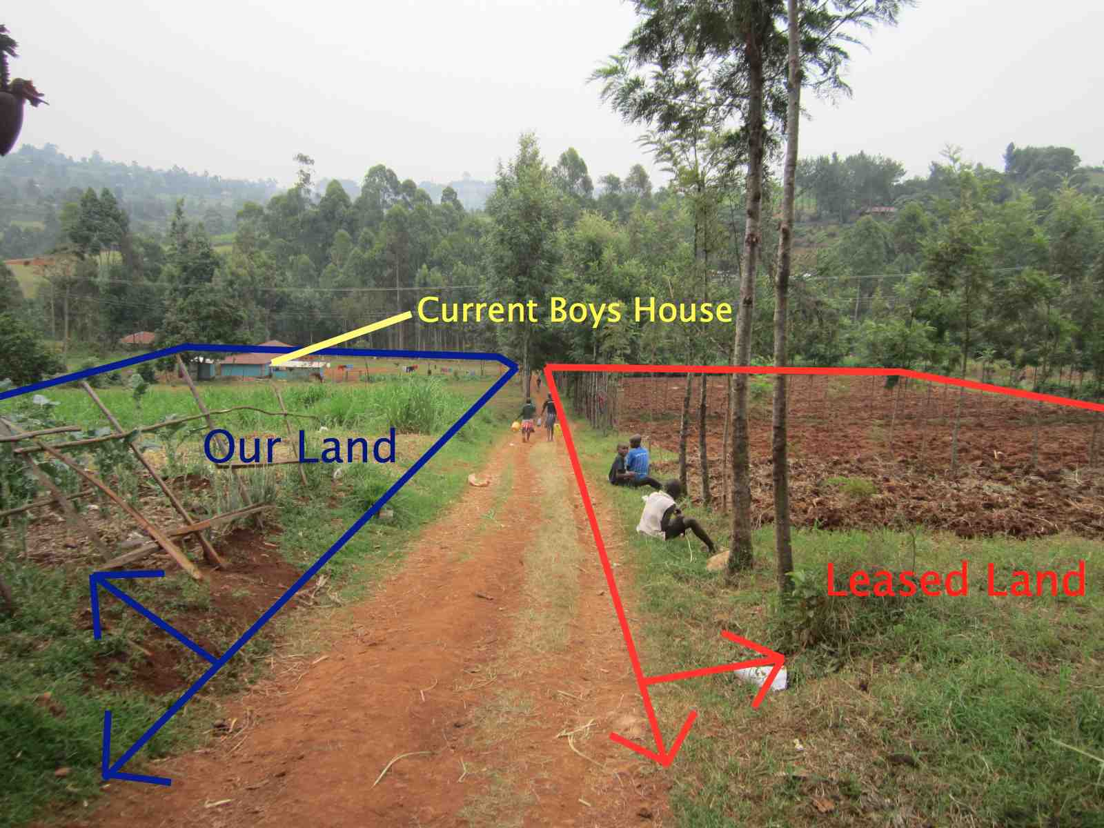 What this photo does NOT show is the main house, girls house, goats/rabbits house, dogs house, grazing area for cows, and many other aspects of the KRCH. In fact, this photo only shows 65% of our land.