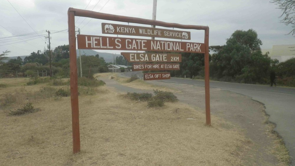 Hell's Gate National Park enterance sign.
