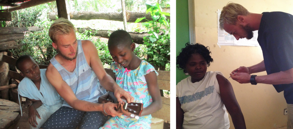 Left: Joren teaching two of the Arrive girls to play ukulele. Right: Joren injecting a patient at the local hospital.
