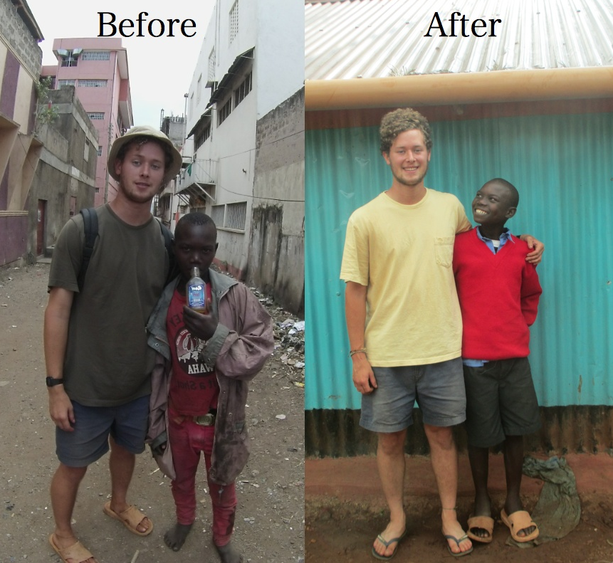 Kevin and I in Kisumu and at home. What a difference!