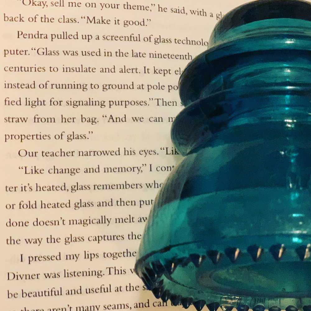 A Hemingray 42 insulator (a gift from a friend!) and some interior text from  Riverland.