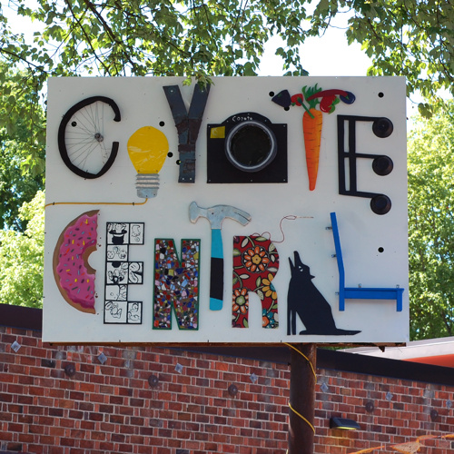 COYOTE CENTRAL SIGN | 2017 - Signage for Coyote Central's Cherry Street CampusPartner: Coyote CentralTeaching Artist: Will Schlough.
