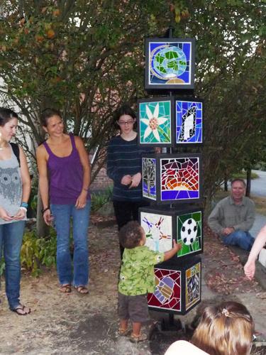 MOSAIC MEMORIAL TO JAN GLEASON | 2012 - Mosaic tower of steel and glass mosaic honoring Jan GleasonPartner: Fire Station 7Teaching Artists: Mari Gardner-Euflauzino + Vance Wolfe.