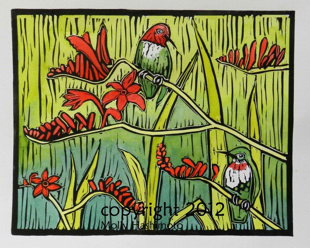 Hummingbirds & Crocosmia  $145