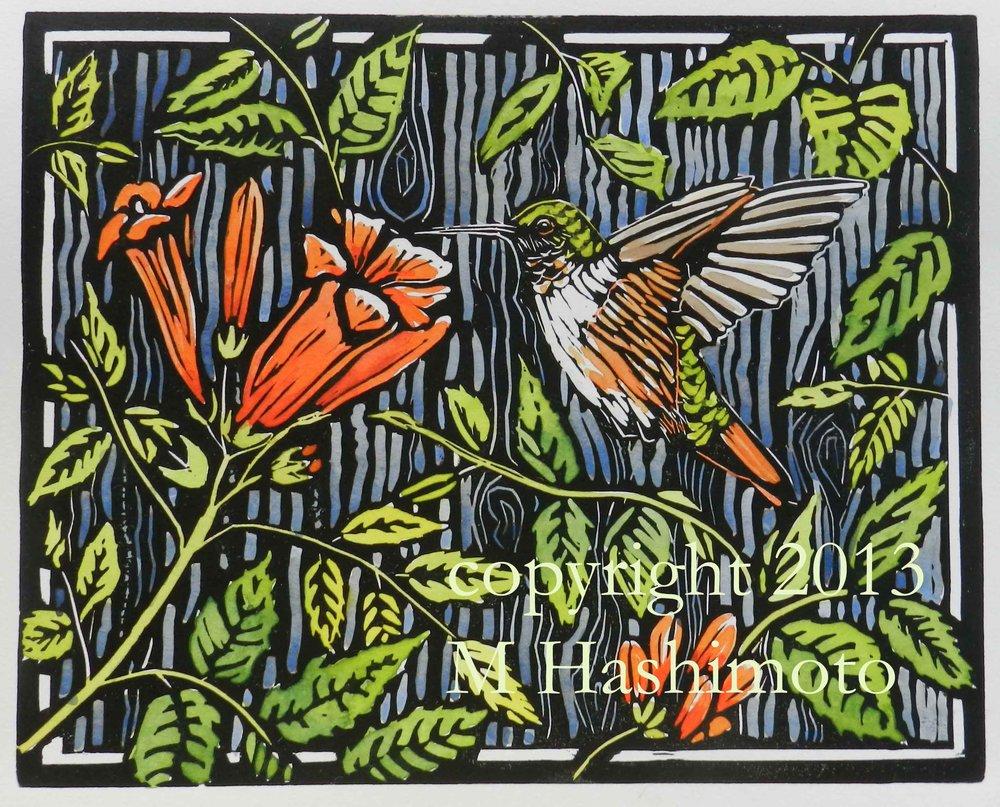 Rufous Hummingbird & Trumpet Vine $115