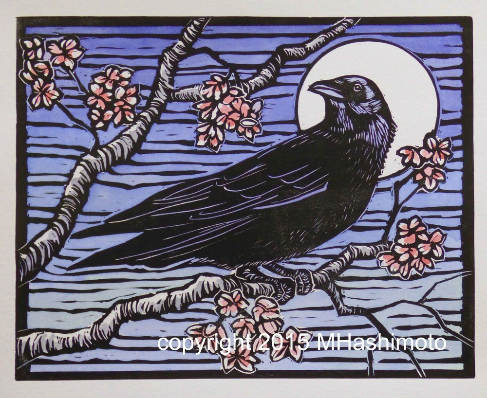 Crow, Moon & Cherry Blossoms $115