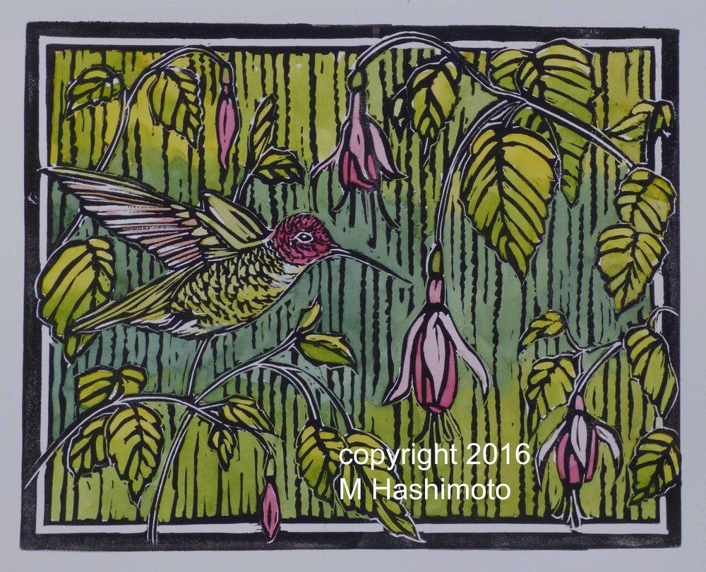 Anna's Hummingbird & Fuchsias  $115