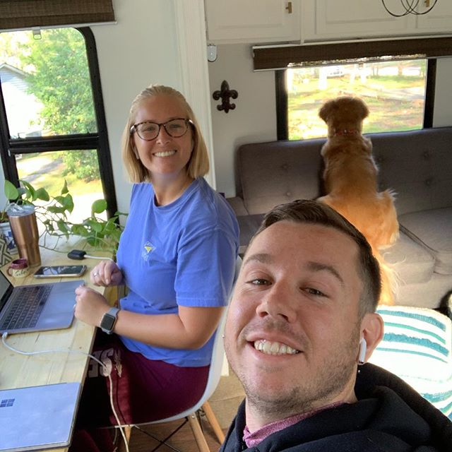The first day of working in the RV is in the bag! @gothamcitygolden definitely worked the hardest tracking all the squirrels in our park. - #rv #rvlife #traveltrailer #rvliving #camper #camperlife #camperrenovation #rvtravel #travelingfamily #carpedinos #carpediem #forestriver #lazydaysrv #alternativeliving #alternativelifestyle #selfemployed #workremote #remotework #workanywhere #workfromanywhere #rvlifestyle #rving #fulltimerv #fulltimervfamily #fulltimerving #fulltimetravel  #camper #homeiswhereweparkit #gorving
