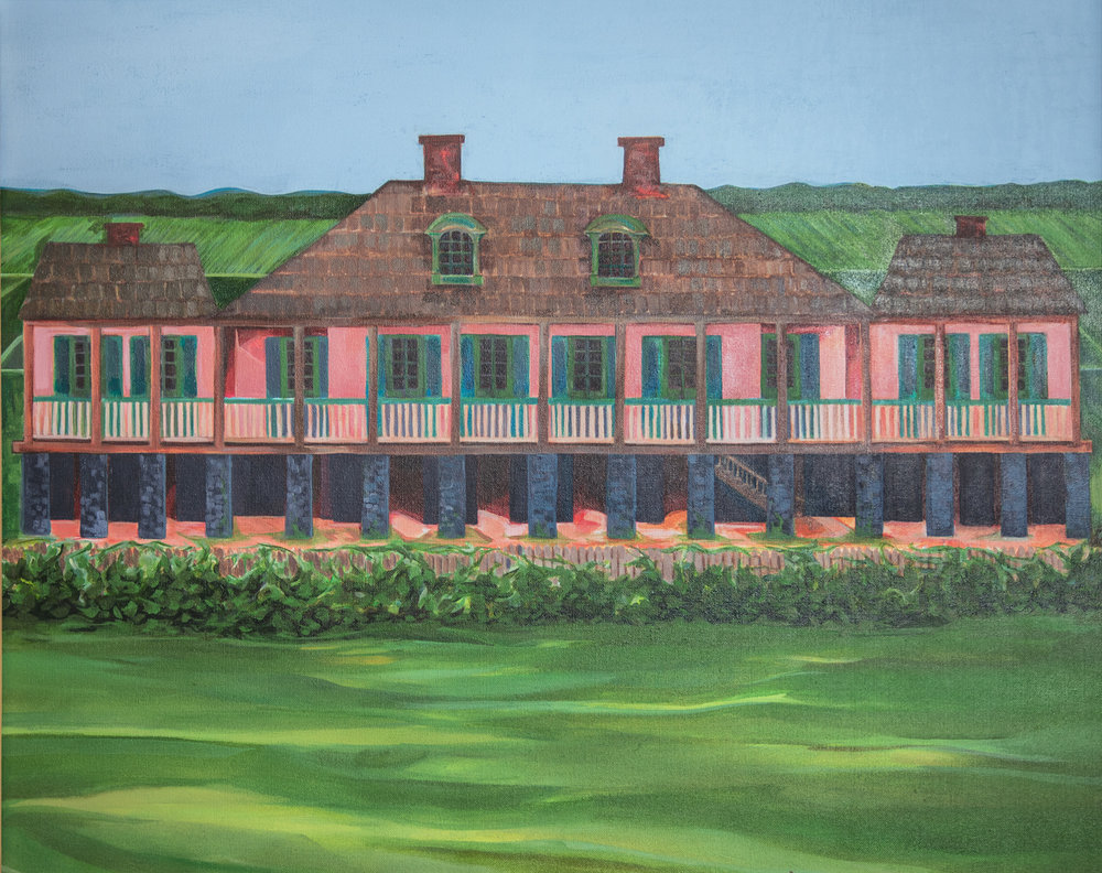 Painting of Magdelaine Heidel Becnel's home in 1810 by artist Josephine Romo.