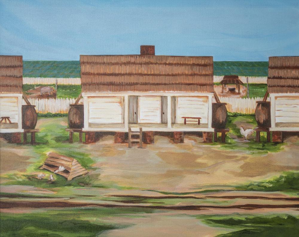 Artist's representation of slave cabin, circa 1800