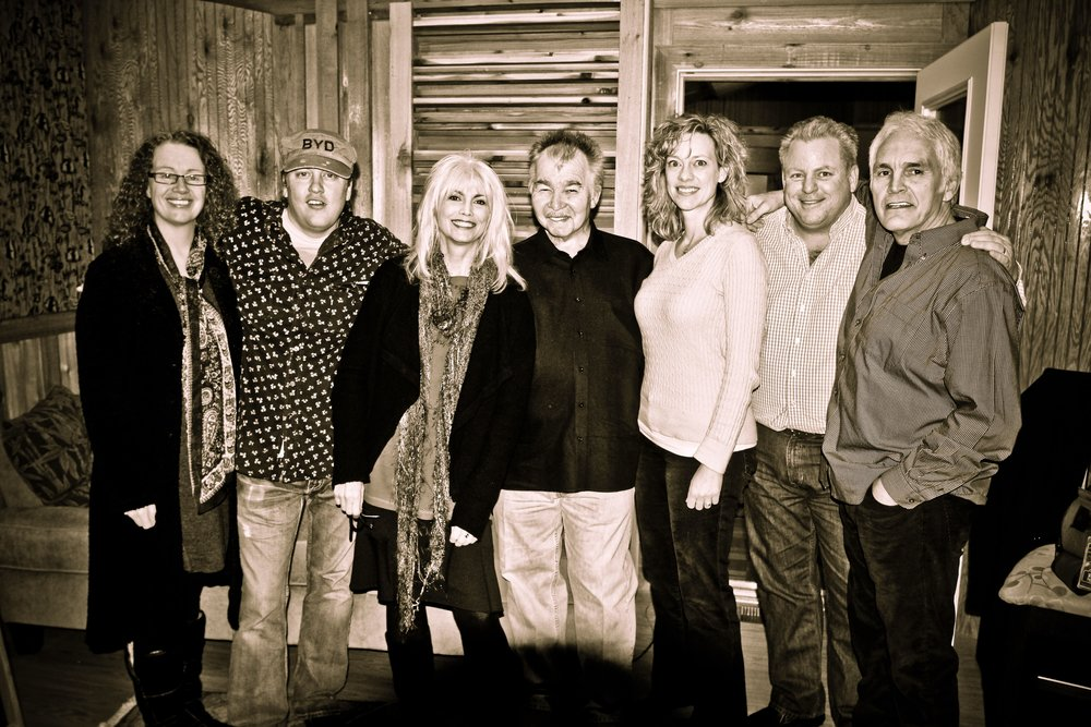 "Tamara, Shawn Camp, Emmylou Harris, John Prine, Jen Gunderman, Mike Bubb and Verlon Thompson at the studio session for ""Magnolia Wind."""