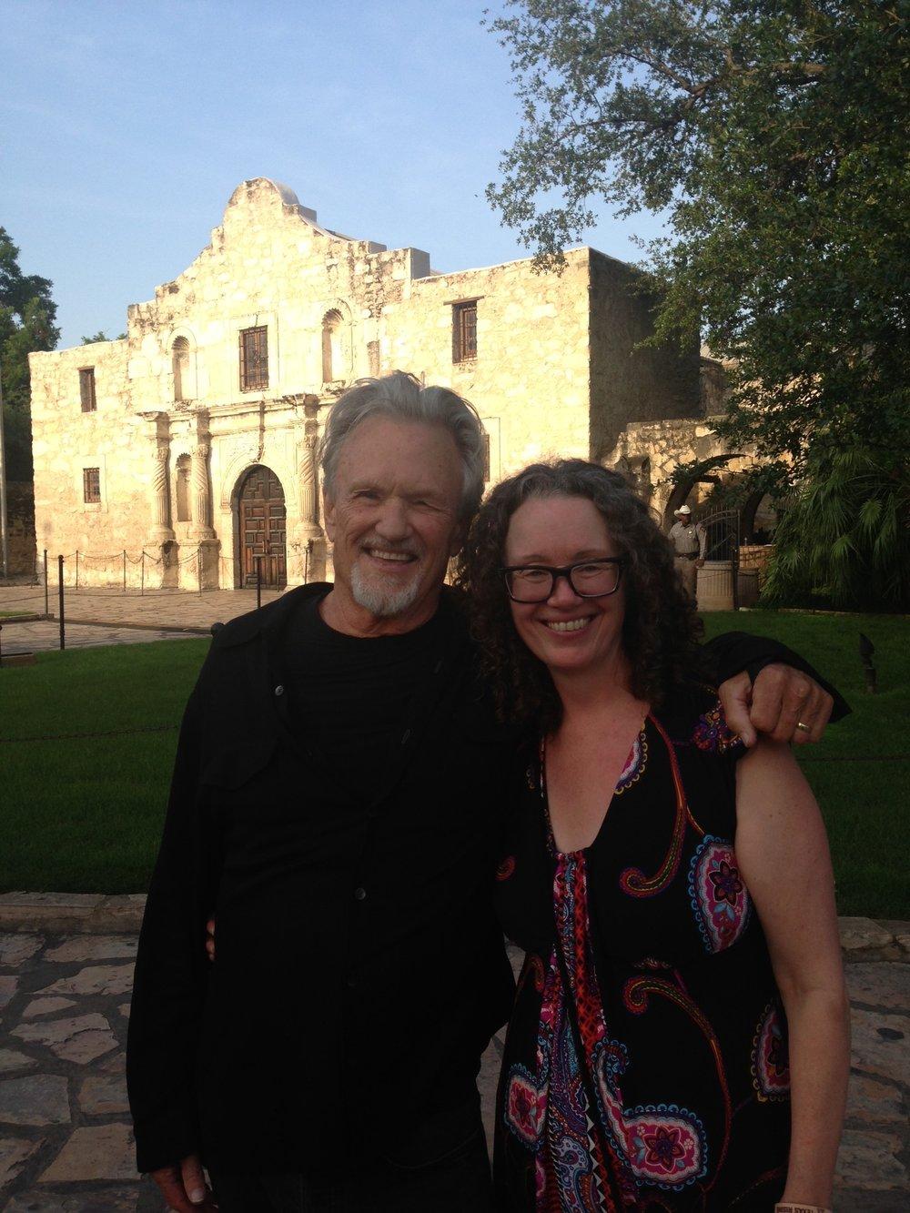 "Kris Kristofferson and Tamara Saviano at the Alamo during ""Texas Rising"" television premiere May 2015"