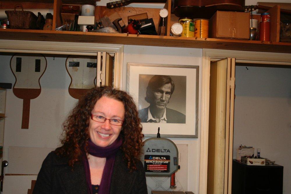 Tamara in Guy Clark's workshop