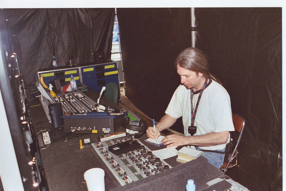 Paul Whitfield at his console during Bruce Springsteen The Rising Tour, Firenze, Italy 2003