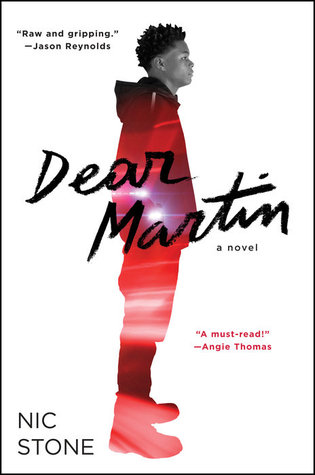 Dear Martin - Author: Nic StoneDescription: Dear Martin is a contemporary young adult novel told through conversations and letters written by the main character to Dr. Martin Luther King, Jr. The book deals with issues of police brutality, the conflict between the different parts of one's identity, and interracial love. The book features an African American male main character.Includes: #ownvoices #africanamerican #black #maleprotagonist #interraciallove #policebrutality #grief #trauma #contemporaryCitation: Stone, N. (2017). Dear Martin. New York: Crown.Image retrieved from: Goodreads.