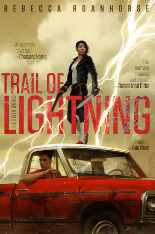 Trail of Lightning - Author: Rebecca RoanhorseDescription: Trail of Lightning is a novel set in a dystopian future where most of the world has drowned because of climate change. This has caused the Navajo gods and heroes of legend to return to the land. Not only do gods and heroes of legend return, but so too do monsters. The protagonist is a monster hunter and goes on an adventure to solve a mystery about the monsters.Includes: #ownvoices #nativeamerican #indigenous #dystopian #femaleprotagonistCitation: Roanhorse, R. (2018). Trail of Lightning. Saga Press.Image retrieved from: Goodreads.
