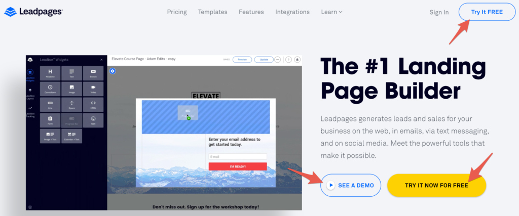 Example of functions from LeadPages