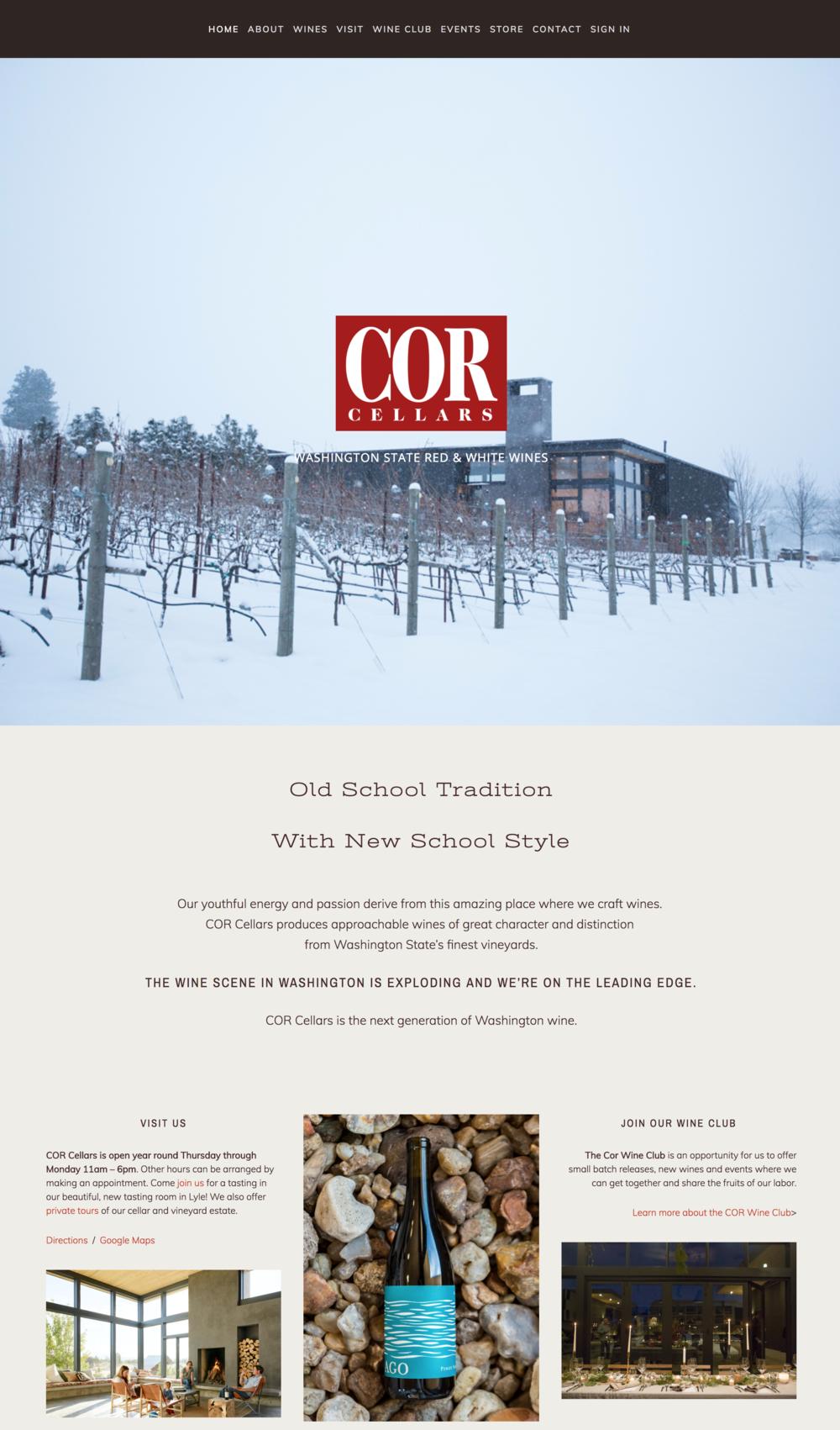 Cor Cellars Winery Website