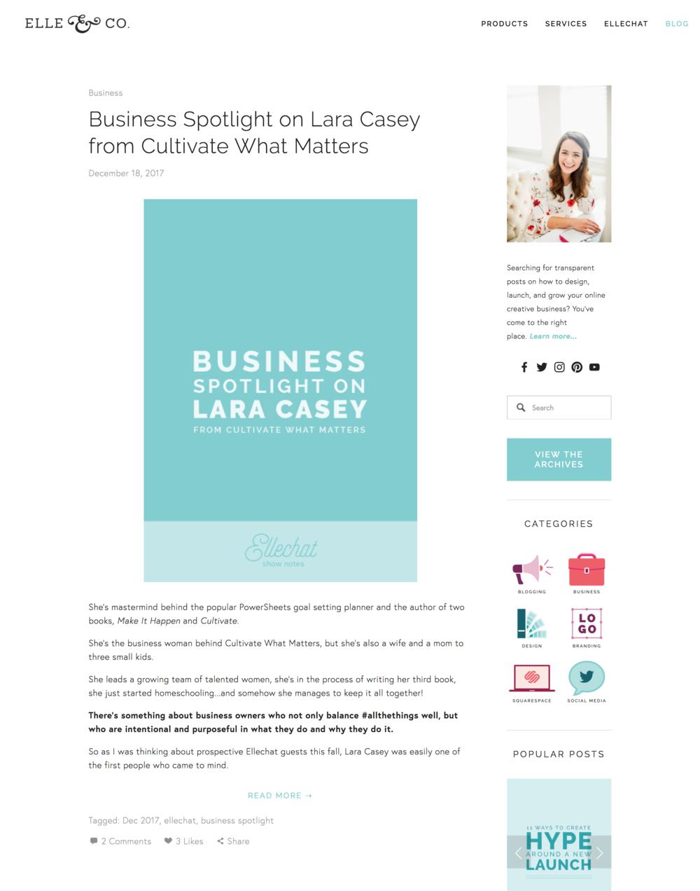 Elle and company design blog website