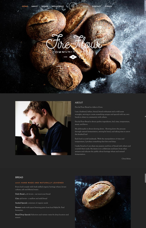 Fire and Flour Bread Restaurant Website
