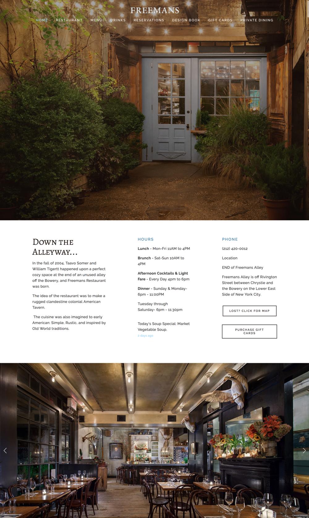 Freemans Restaurant Website