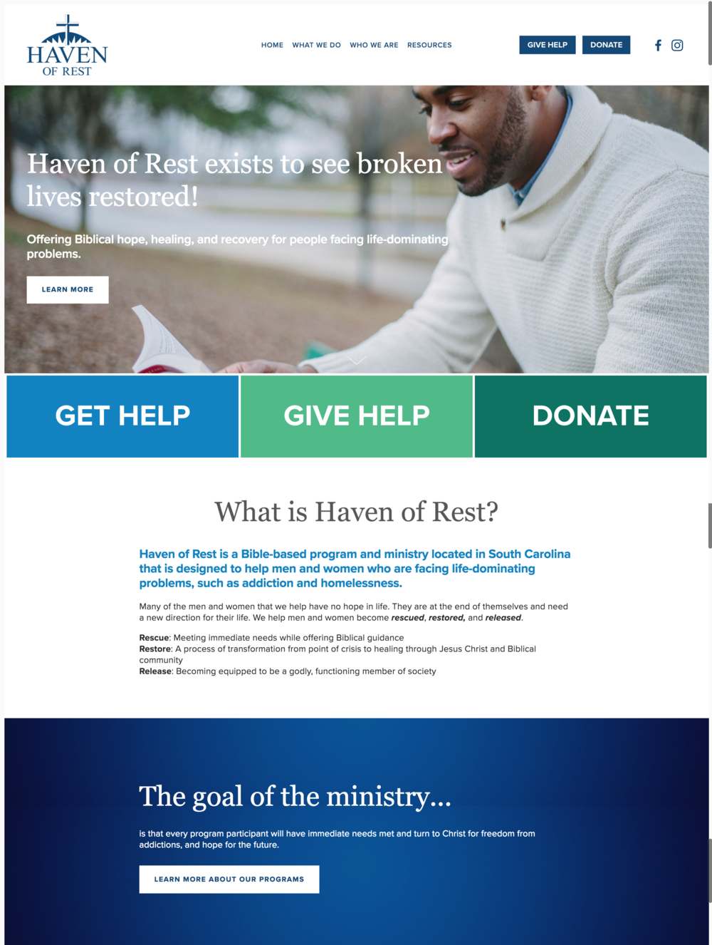 Haven of Rest Non-Profit Website