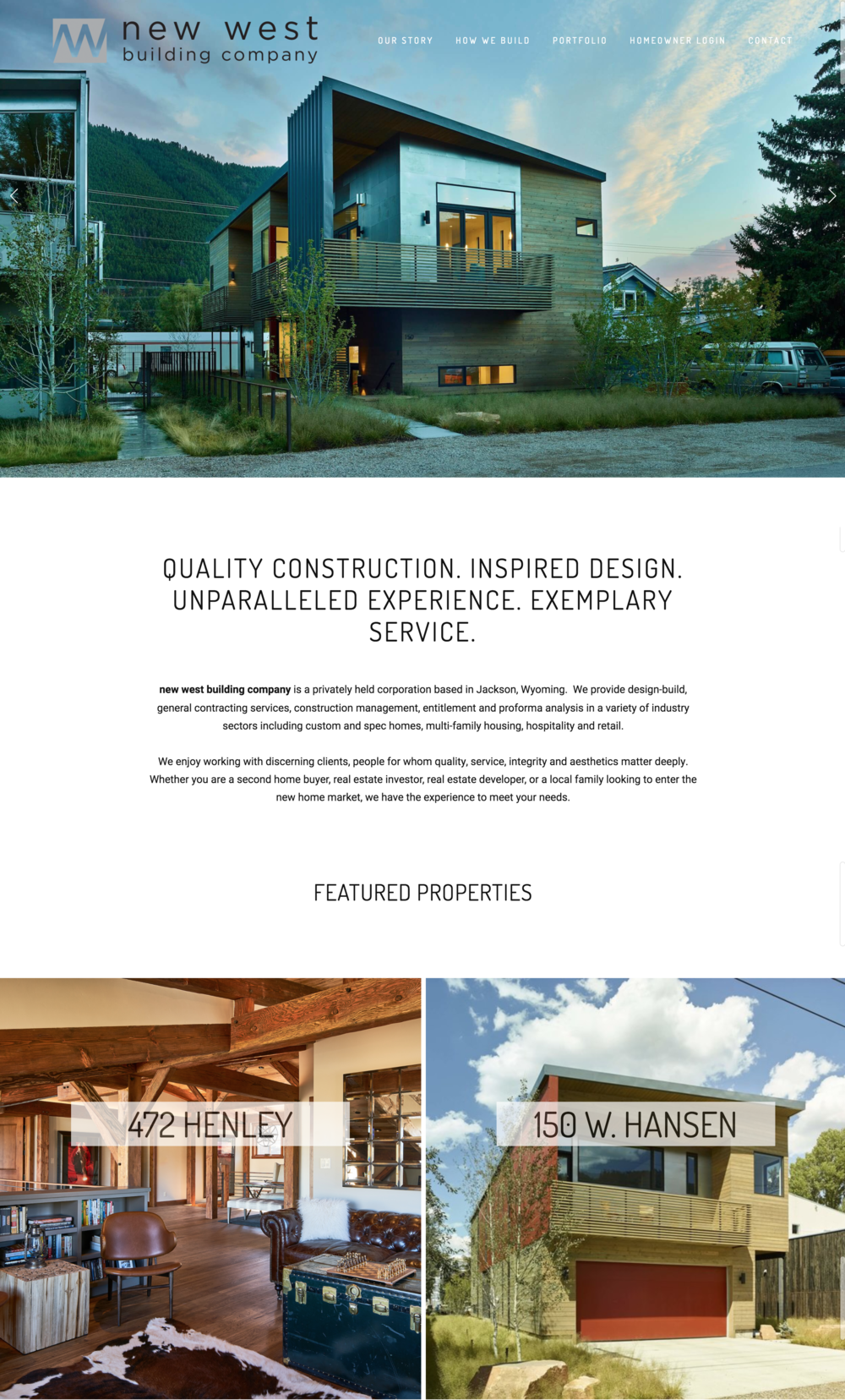 New West Building Company Real Estate Website