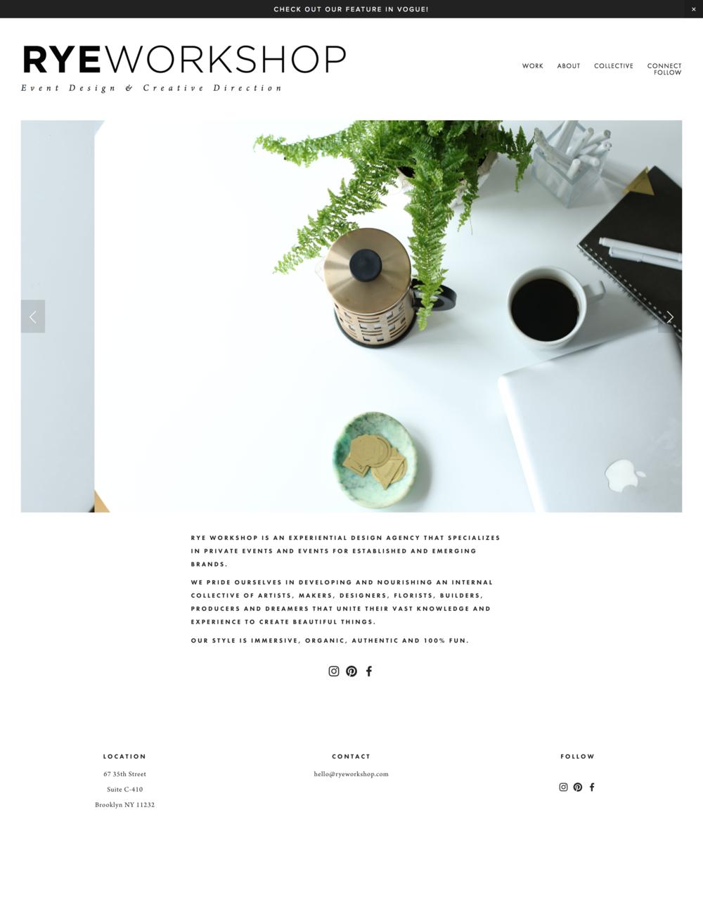 Rye Workshop Creative Website