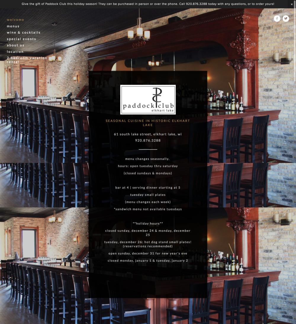The Paddock Club Restaurant Website