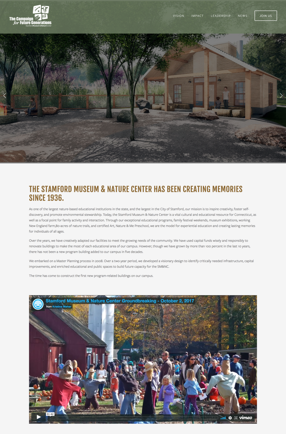 The Stamford Museum and Nature Center Non-Profit Website