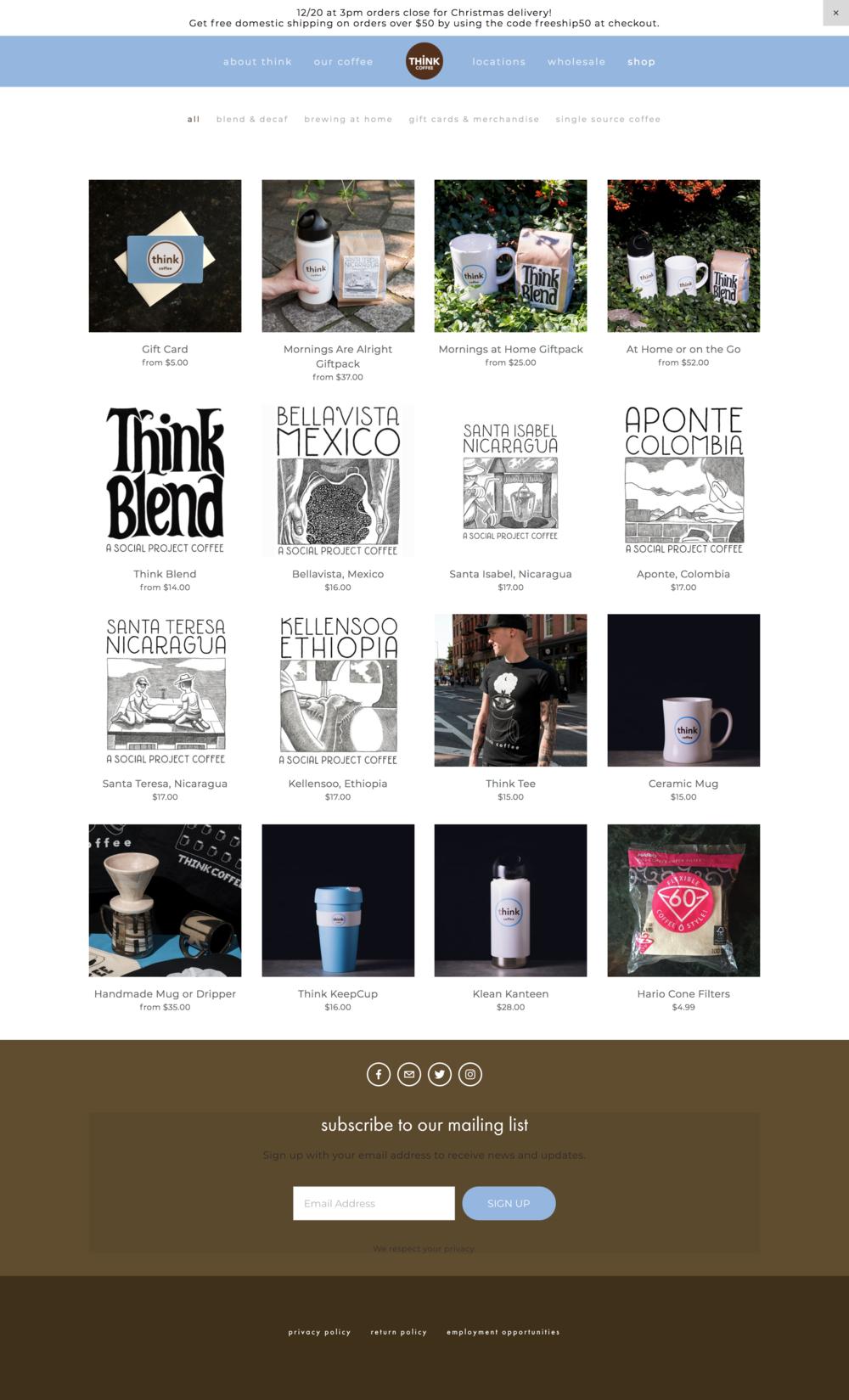 Think Coffee Online Shop Website