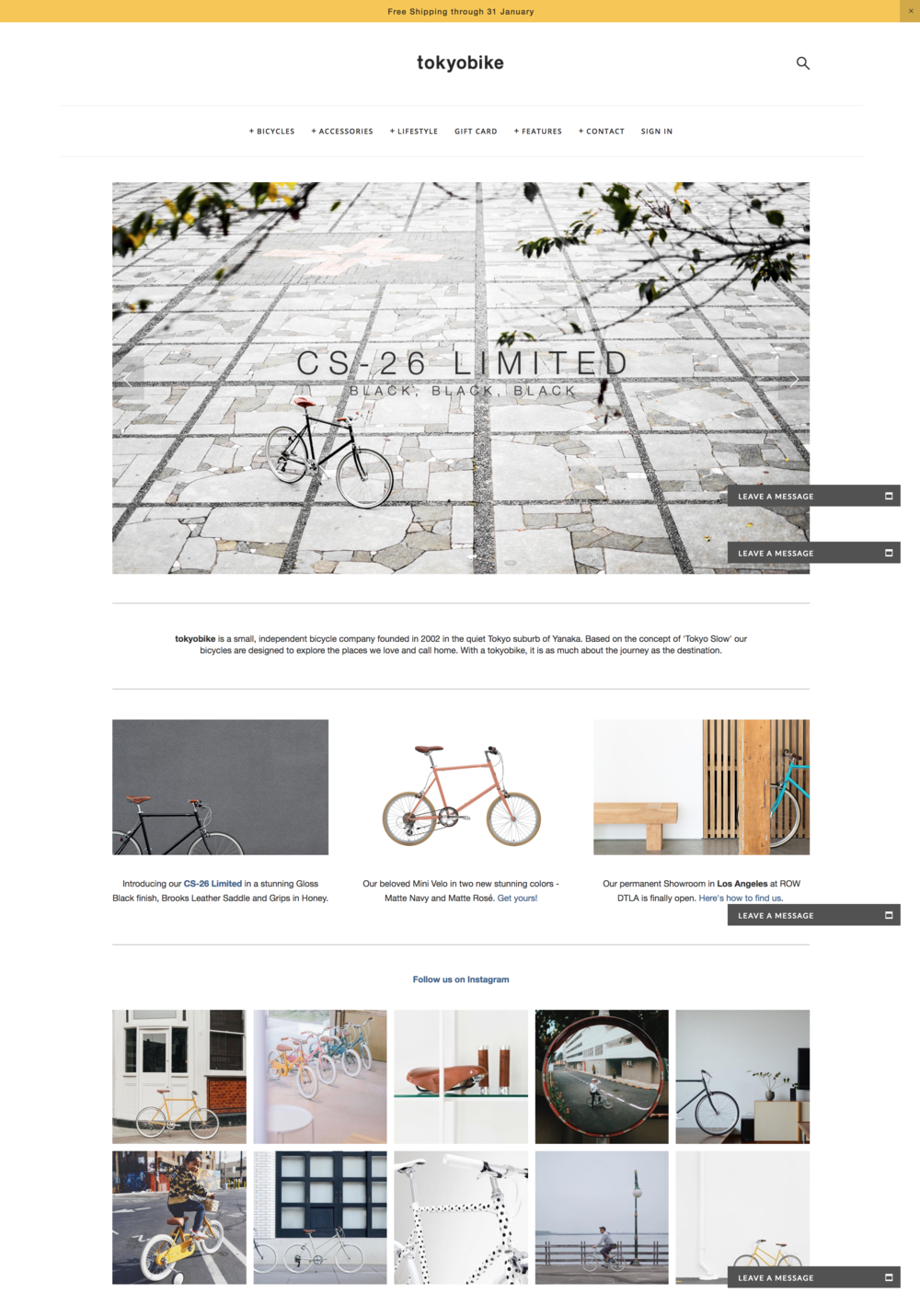 Tokyo Bike Online Store Website