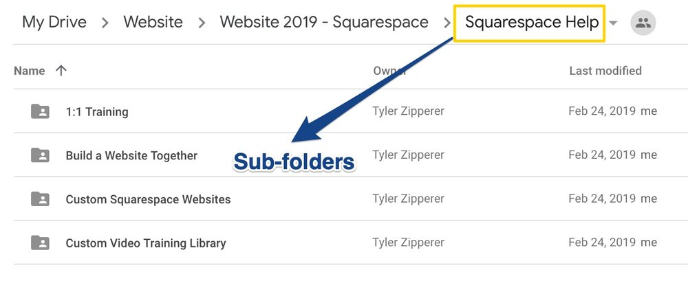 Sub folders set up in Google Drive for service pages.jpg