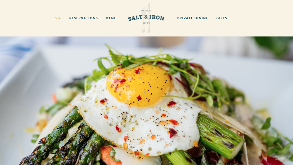 Salt and Iron one page scrolling restaurant website
