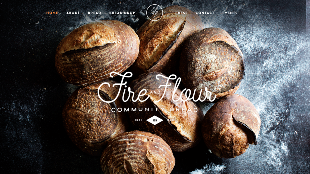 Fire and Flour Bread one page scrolling restaurant website